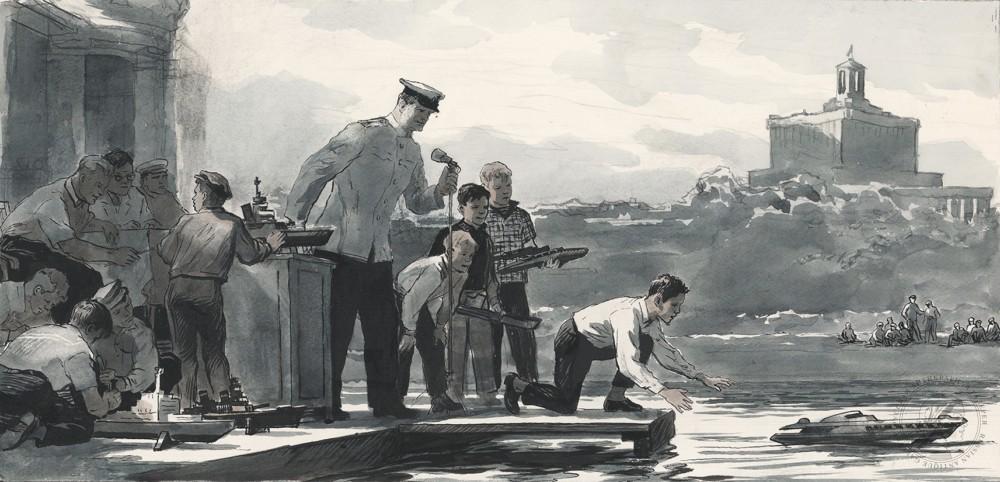 Рисунок «Моделисты Центрального дома Красной Армии»