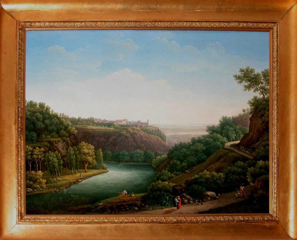 Старинная картина «Итальянский пейзаж с рекой»