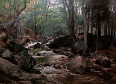 Старинная картина «Горная речка в лесу»