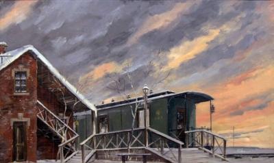 Картина «Багровые облака с вагоном. Театральная декорация»