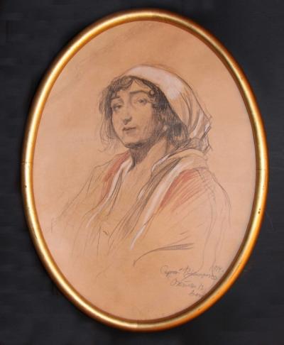 Антикварная акварель «Портрет Ирины Казимировны Войцеховской»