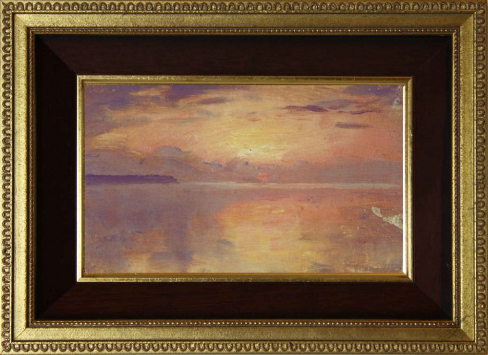 Старинная картина «Розовый закат» 1910 года
