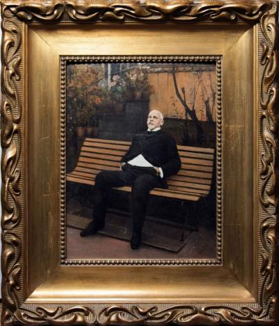 Портрет поэта Иннокентия Федоровича Анненского во дворе его дома в Софии в Царском Селе