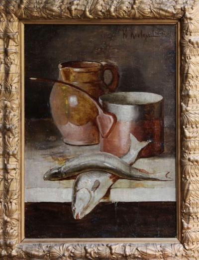 Старинная картина «Натюрморт с рыбой» конца 19 века