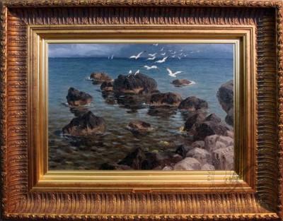 Старинная картина «Крым близ Алупки» 1910 годы