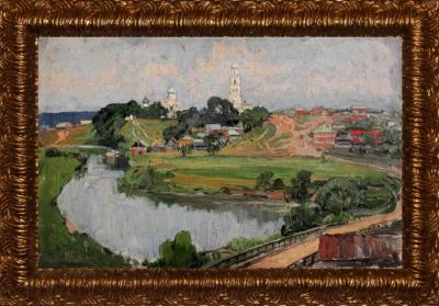 Старинная картина «Пейзаж с церковью»