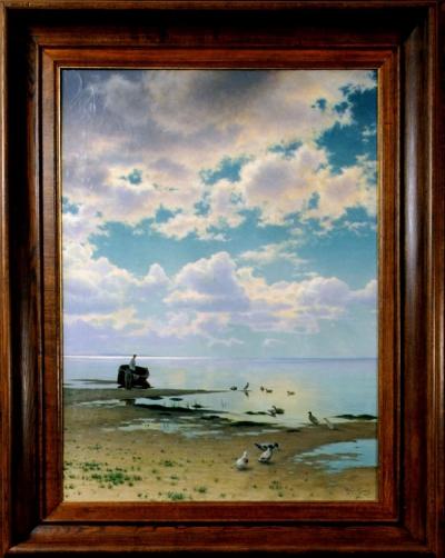 На берегу залива. Тихое утро художник Проскурнин