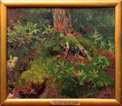 Старинная картина «Передний план леса» 1928 год