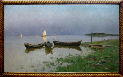 """Старинная картина """"Озеро Ильмень"""" 1928 года"""