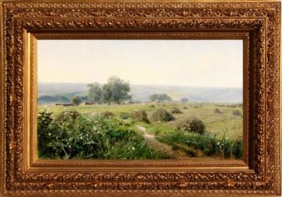 Старинная картина «Летний пейзаж» 1893 год