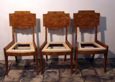 Три стула фанерованые капом тополя в стиле Ампир