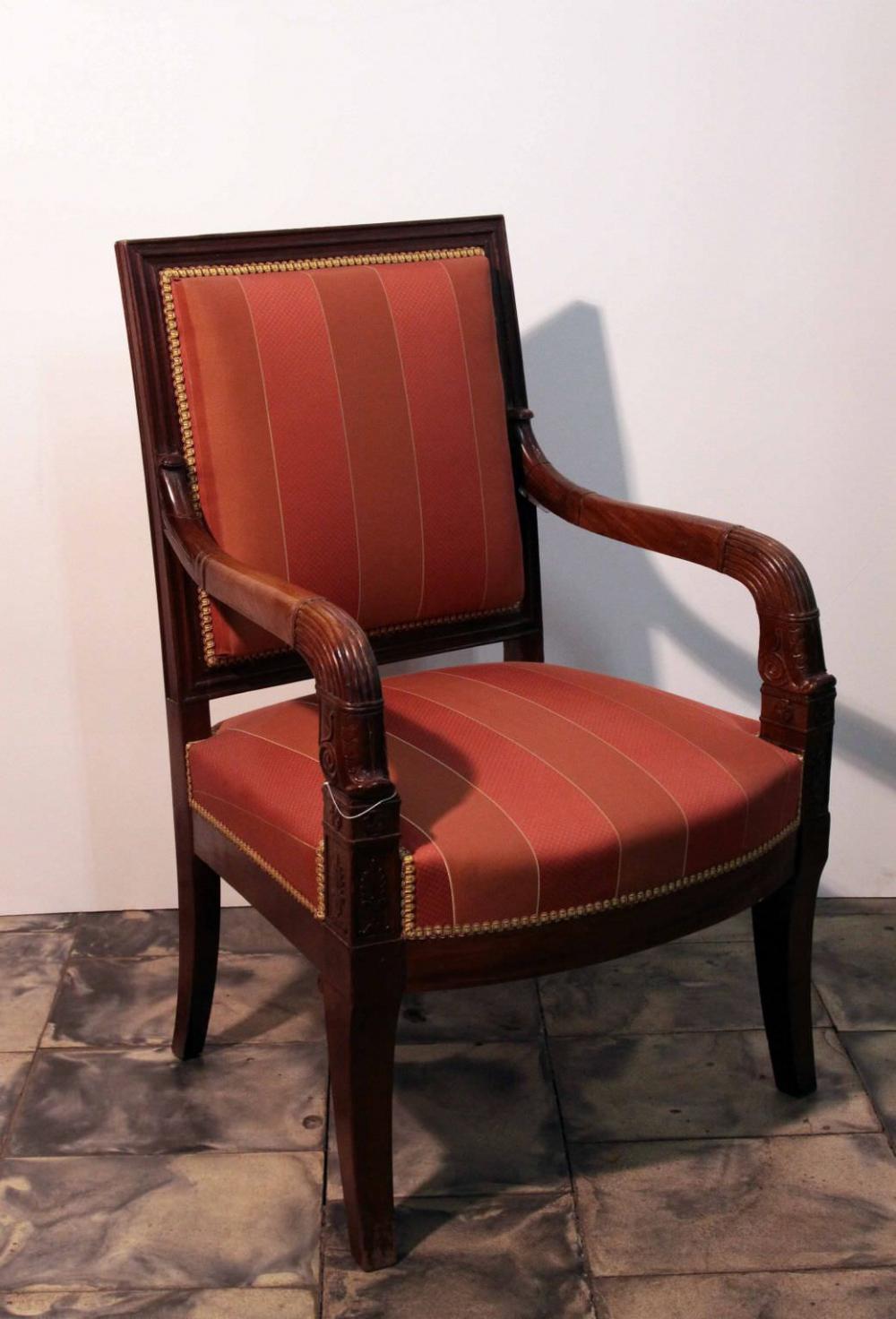 Кресло красного дерева в стиле директории мастер  J. Louis