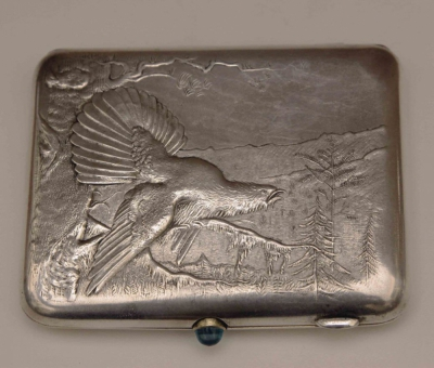 Портсигар серебряный Тетерев