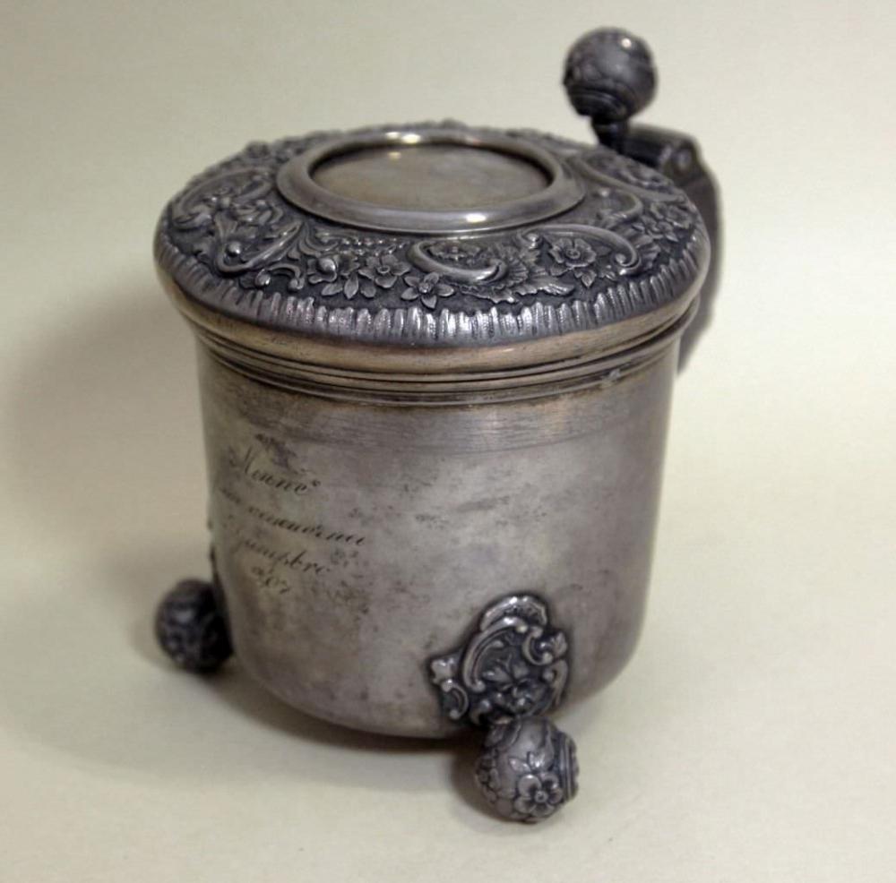 Кружка старинная серебряная