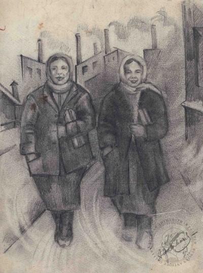 Рисунок карандашный «С завода» 1924 года