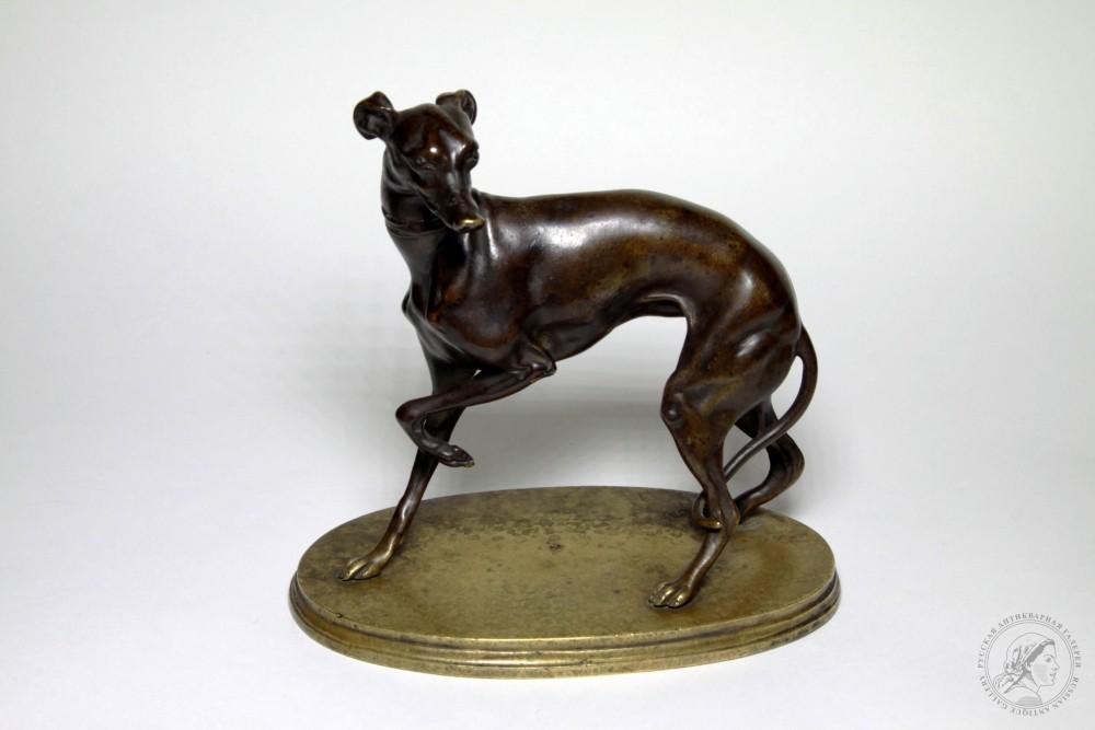 Скульптура старинная бронзовая «Левретка»