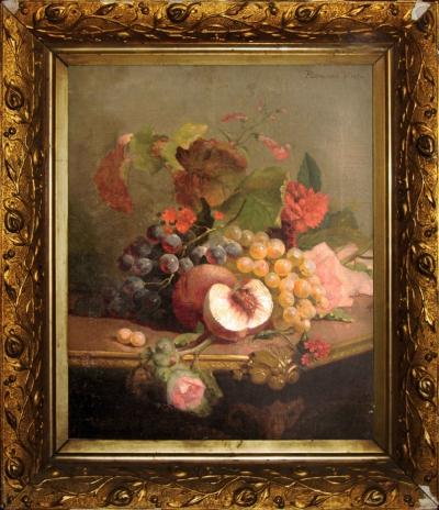 натюрморт с виноградом и персиками
