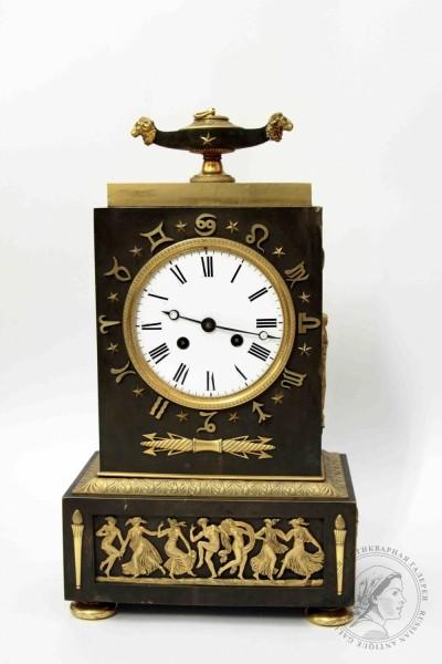 Часы бронзовые каминные в стиле ампир «Знаки зодиака»