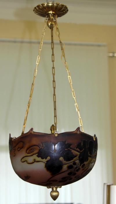 Люстра фонарь в стиле модерн из многослойного цветного стекла Эмиль Галле