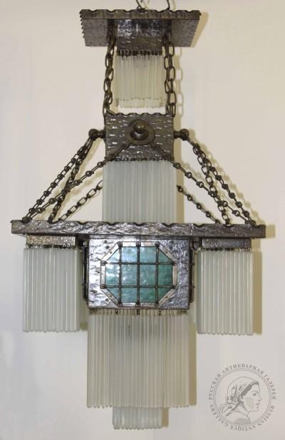 Люстра бронзовая в стиле Ар-деко с вставками из цветного оптического стекла, квадратной формы на шесть точек