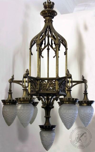 Люстра старинная бронзовая в готическом стиле