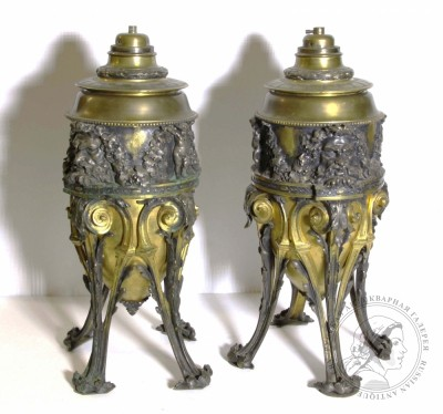 Масляные бронзовые золочённые лампы в барочном стиле