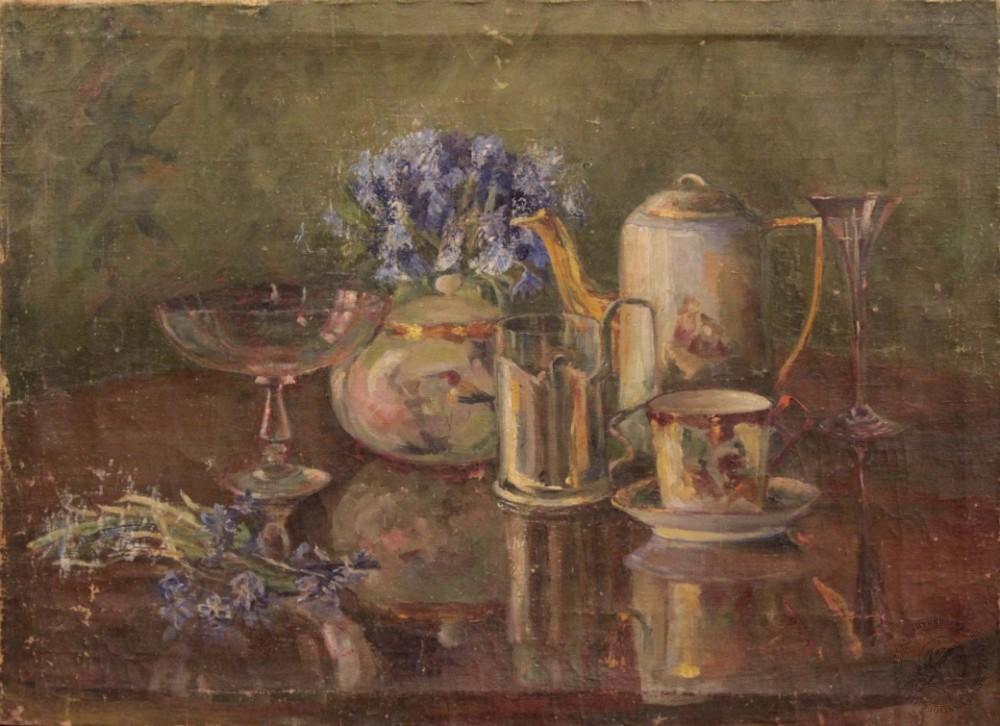 Картина натюрморт с васильками и чайным сервизом неизвестного художника