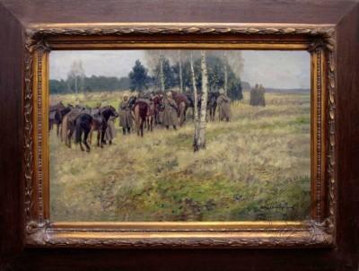 Старинная картина «Казаки в разведке» 1910 годы