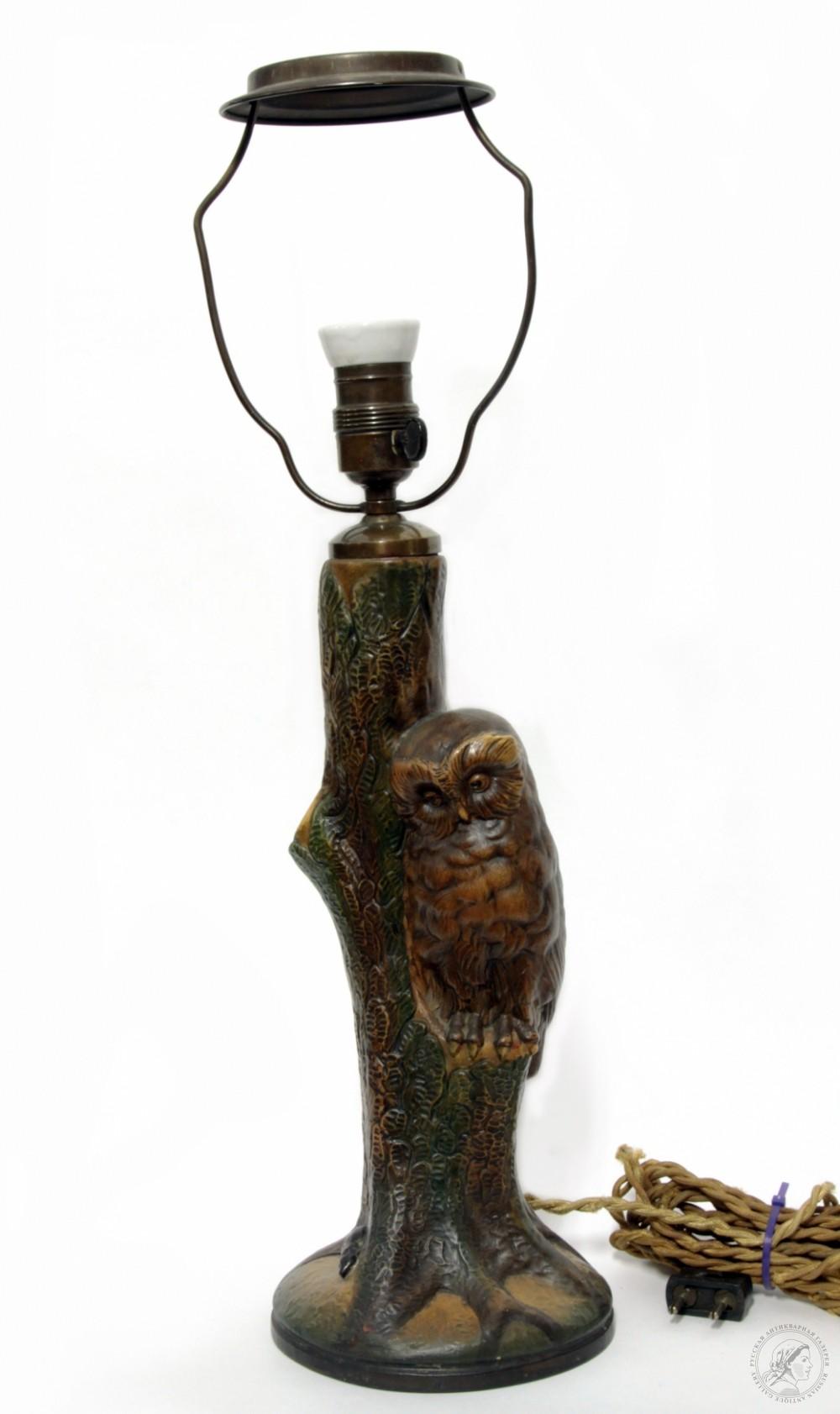 Старинная фаянсовая настольная лампа «Сова»