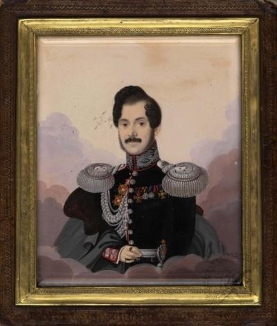 Старинная акварель «Портрет полковника генерального штаба Роговского Михаила Мартыновича» 1836 года
