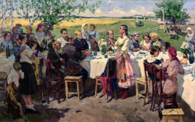 Картина сельский праздник художник Расторгуев