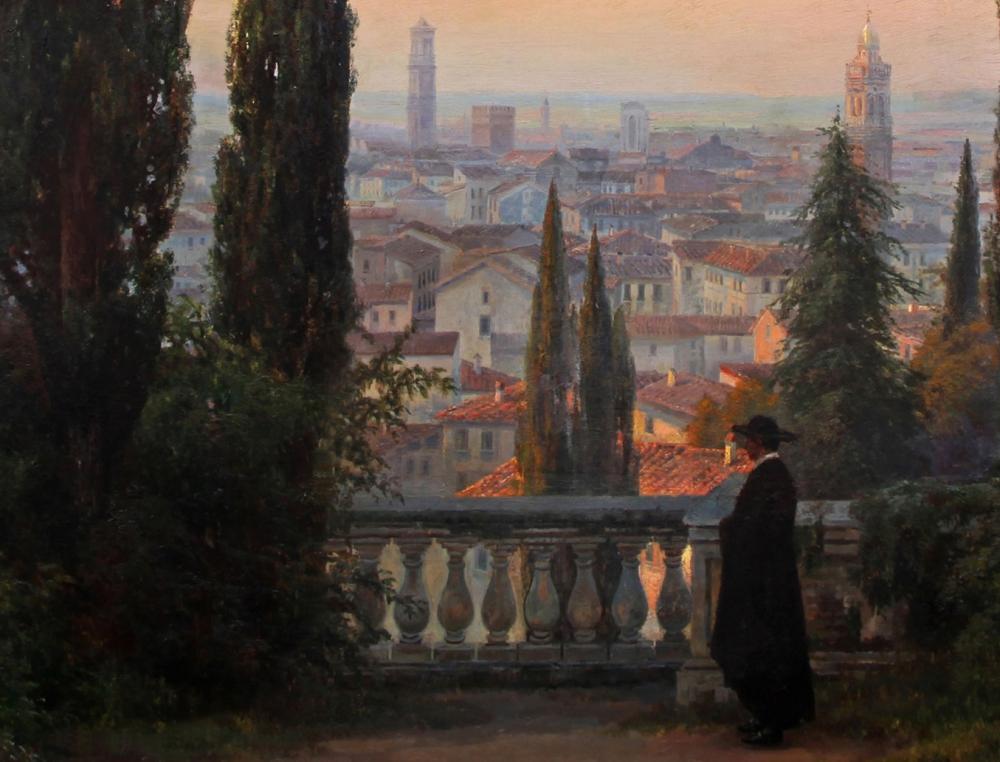 Антикварная картина «День догорает. Верона» 1909 год