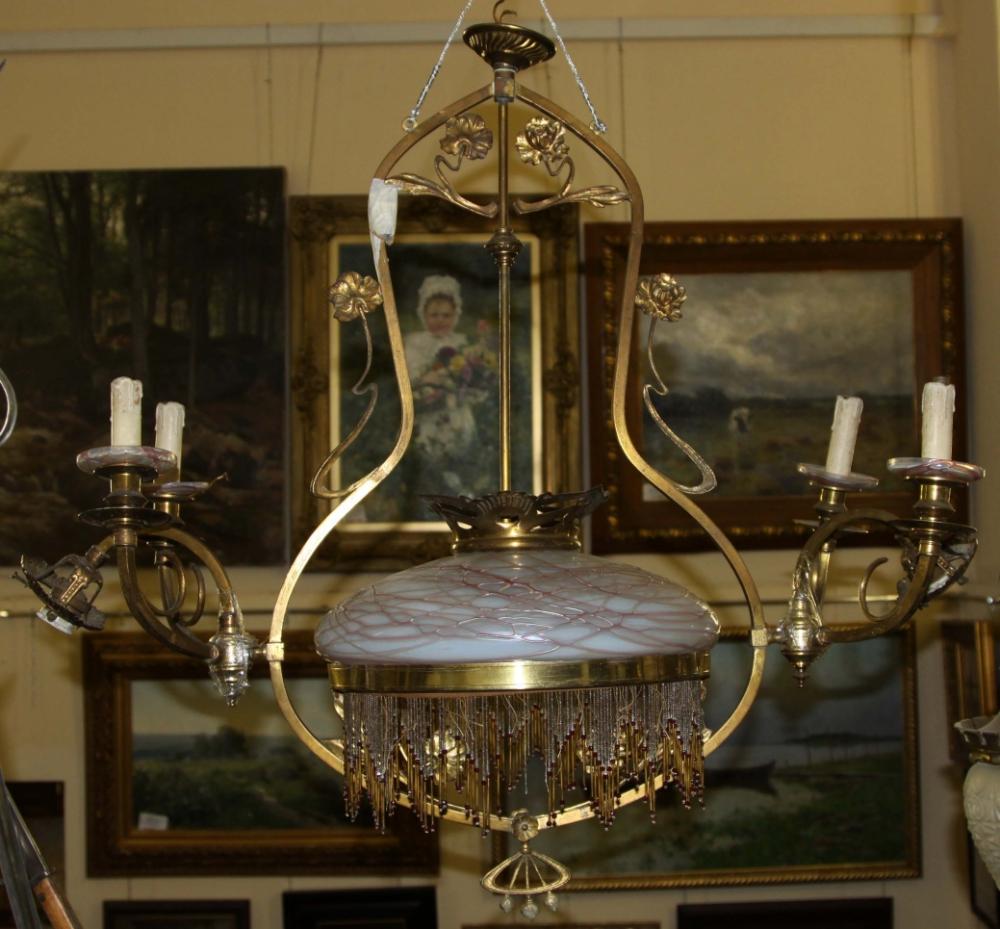 Люстра старинная бронзовая с плафоном из многоцветного стекла в стиле модерн