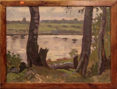 Старинная картина «Летний пейзаж с рекой»