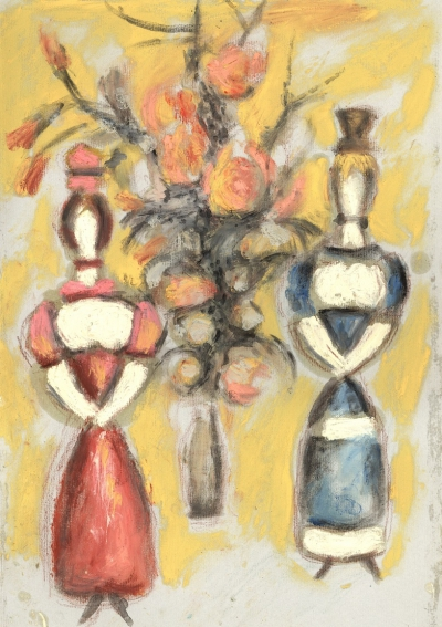 Картина «Двое и букет» из серии «Дымковская игрушка»