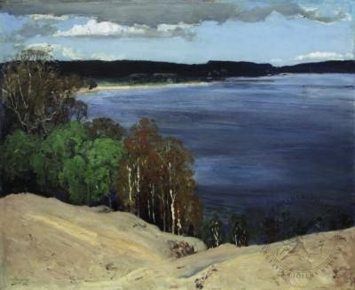 Старинный пейзаж «На берегу озера» 1894 год