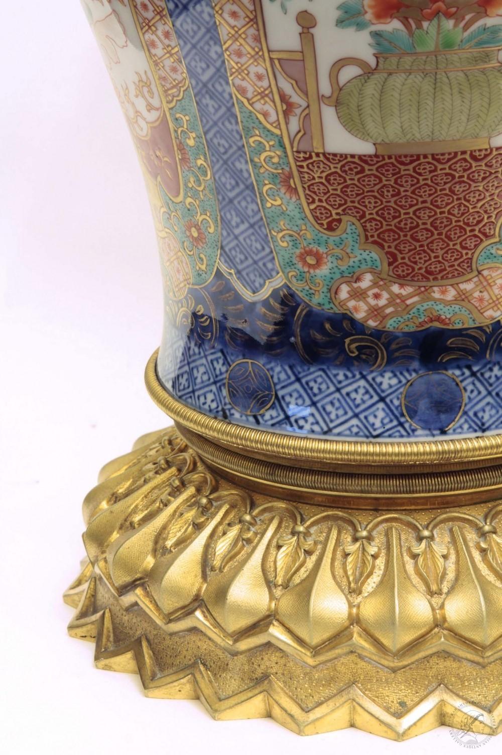 Старинная лампа в стиле шинуазри. Фабрика Крумбюгель А