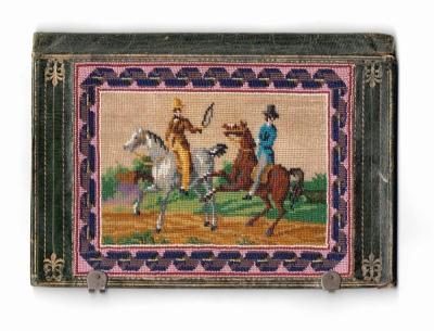 Старинный кошель с картинками из мелкого бисера «Всадники»