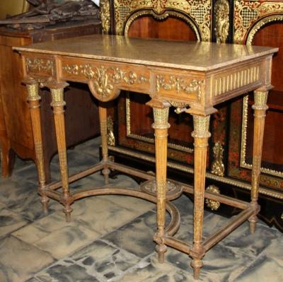 Старинный консольный стол с мраморной крышкой в стиле классицизм. Фабрика Шмитта