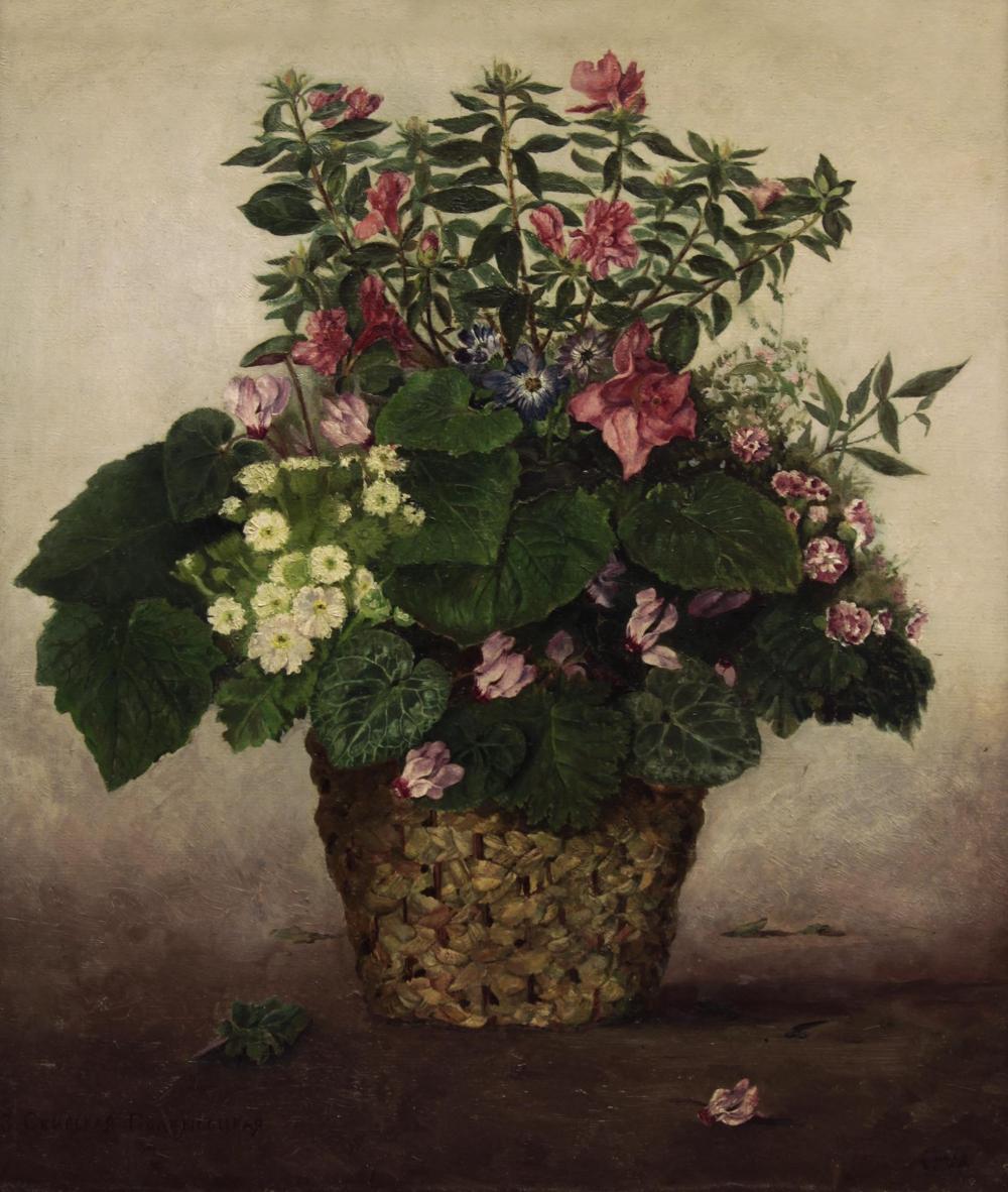 Старинный натюрморт «Букет садовых цветов»