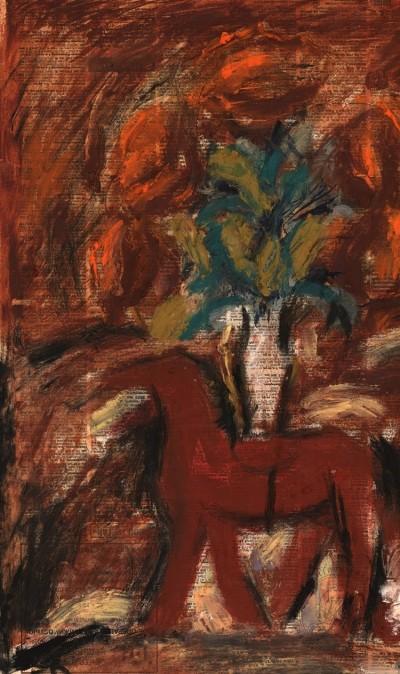 Картина «Натюрморт с лошадкой и красными цветами»