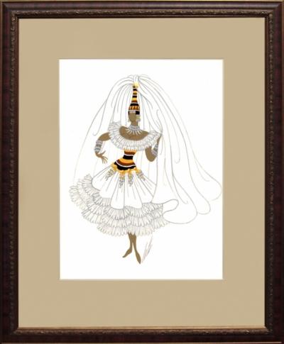 Рисунок «Эскиз костюма.Девушка в белом платье»