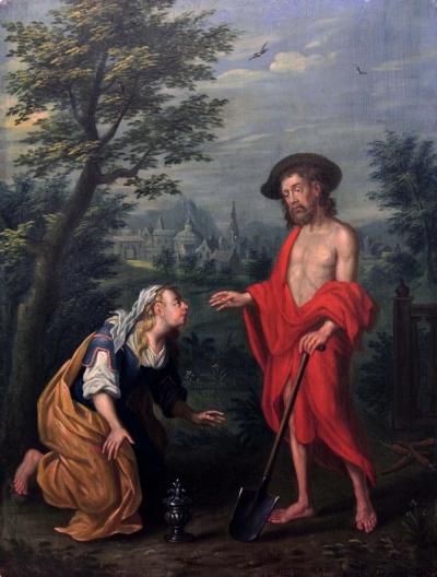 Старинная картина «Явление Христа Марии Магдалине»