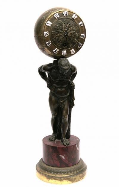 Старинные каминные часы «Атлант»