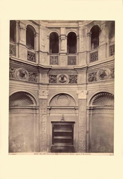 Старинная фотография «Milano Sacrestia della Chiesa di S.Satiro, opera di Bramante»