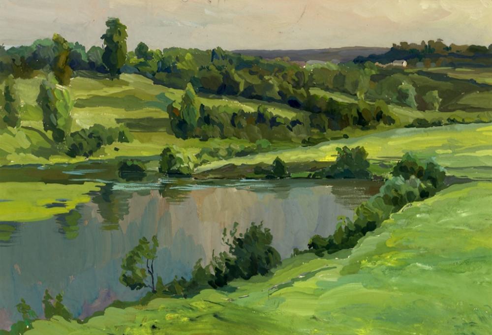 Рисунок «Пейзаж с рекой»