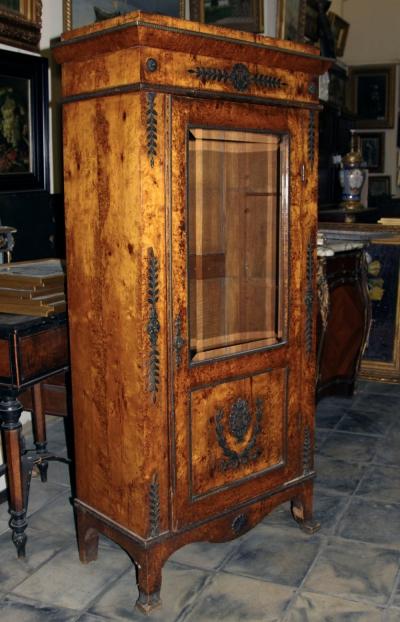 Шкаф книжный карельской берёзы с бронзовыми накладками