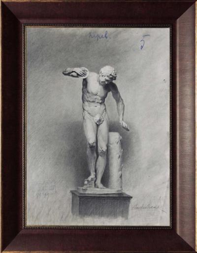 Рисунок ученика Императорского Строгановского Центрально художественного промышленного училища. «Гипсовая скульптура»