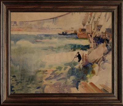Рисунок «Днепрострой. Общий вид плотины с внешней стороны»