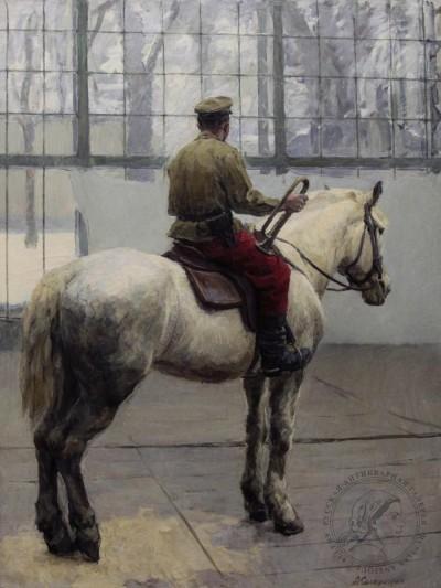 Картина «Военный горнист на лошади»